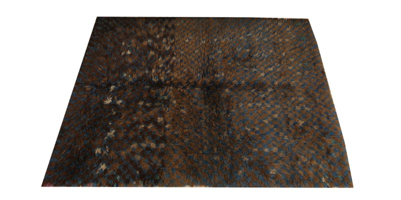 4.7 X 6.11 Ft.. 140X210 CM  Dark Brown and blue Moroccan style carpet