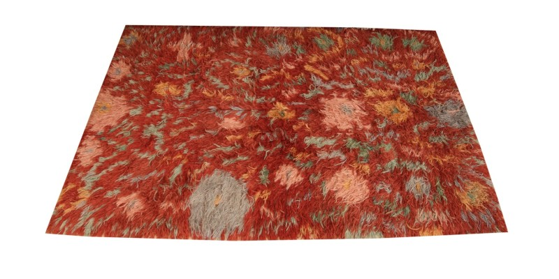 5.7 X 9.6 Ft.. 170X290 CM Abstract Rust red Long Pile rug