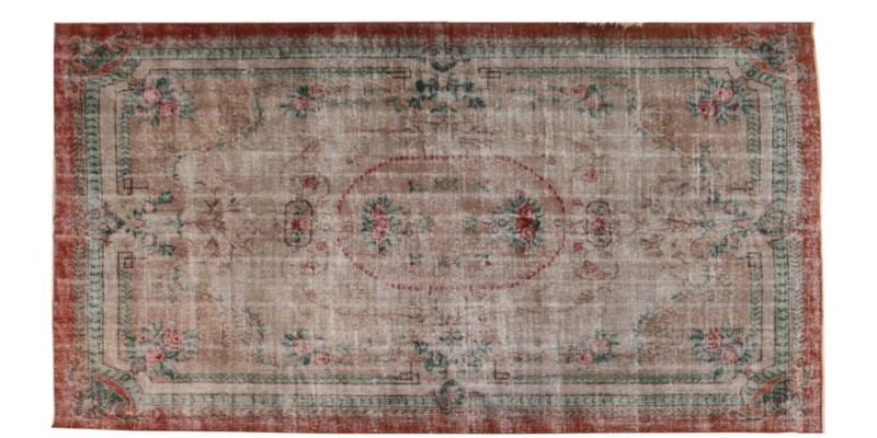 6.9 X 10.6 Ft.. 205x320 Cm  Oversize Faded Color Medallion Area Rug